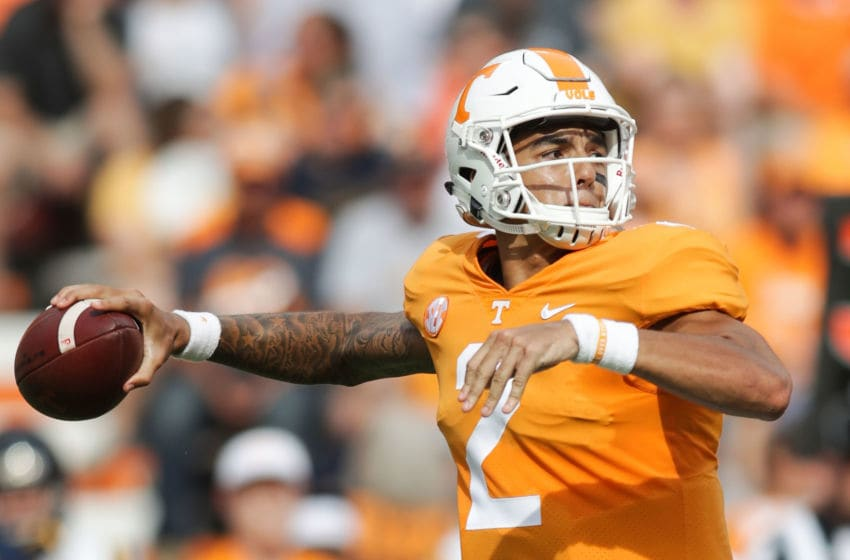KNOXVILLE, TN - SEPTEMBER 08: Jarrett Guarantano #2 of the Tennessee Volunteers looks to pass during a game against the East Tennessee State University Buccaneers at Neyland Stadium on September 8, 2018 in Knoxville, Tennessee. Tennesee won the game 59-3. (Photo by Donald Page/Getty Images)