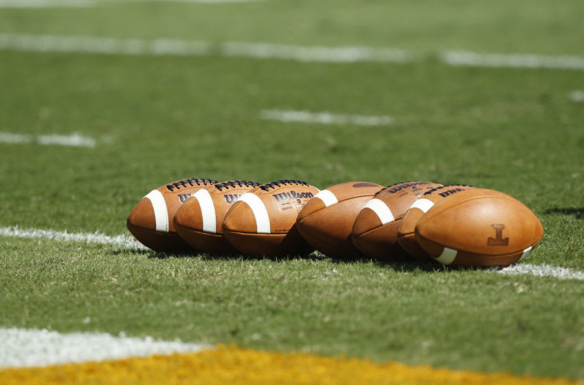 KNOXVILLE, TN - SEPTEMBER 18: Detail view of footballs lined up on the field before the game between the Florida Gators and Tennessee Volunteers at Neyland Stadium on September 18, 2010 in Knoxville, Tennessee. Florida won 31-17. (Photo by Joe Robbins/Getty Images)