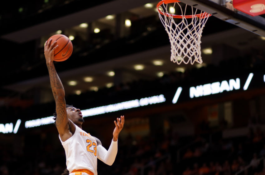 KNOXVILLE, TN - OCTOBER 31: Jordan Bowden #23 of the Tennessee Volunteers shoots a layup during the game between the Tusculum Pioneers and the Tennessee Volunteers at Thompson-Boling Arena on October 31, 2018 in Knoxville, Tennessee. (Photo by Donald Page/Getty Images)