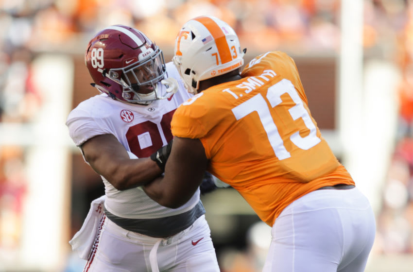 KNOXVILLE, TN - OCTOBER 20: LaBryan Ray #89 of the Alabama Crimson Tide battles with Offensive lineman Trey Smith #73 of the Tennessee Volunteers during the first half of the game between the Alabama Crimson Tide and the Tennessee Volunteers at Neyland Stadium on October 20, 2018 in Knoxville, Tennessee. Alabama won 58-21. (Photo by Donald Page/Getty Images)
