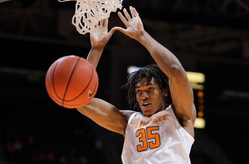 KNOXVILLE, TN - DECEMBER 2: Dunk from Yves Pons #35 of the Tennessee Volunteers during the first half of their game against the Texas A&M-CC Islanders at Thompson-Boling Arena on December 2, 2018 in Knoxville, Tennessee. (Photo by Donald Page/Getty Images)