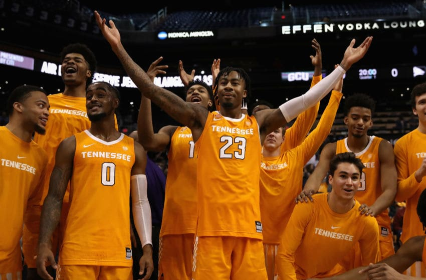 PHOENIX, ARIZONA - DECEMBER 09: Jordan Bowden #23 of the Tennessee Volunteers celebrates after defeating the Gonzaga Bulldogs in the game at Talking Stick Resort Arena on December 9, 2018 in Phoenix, Arizona. The Volunteers defeated the Bulldogs 76-73. (Photo by Christian Petersen/Getty Images)