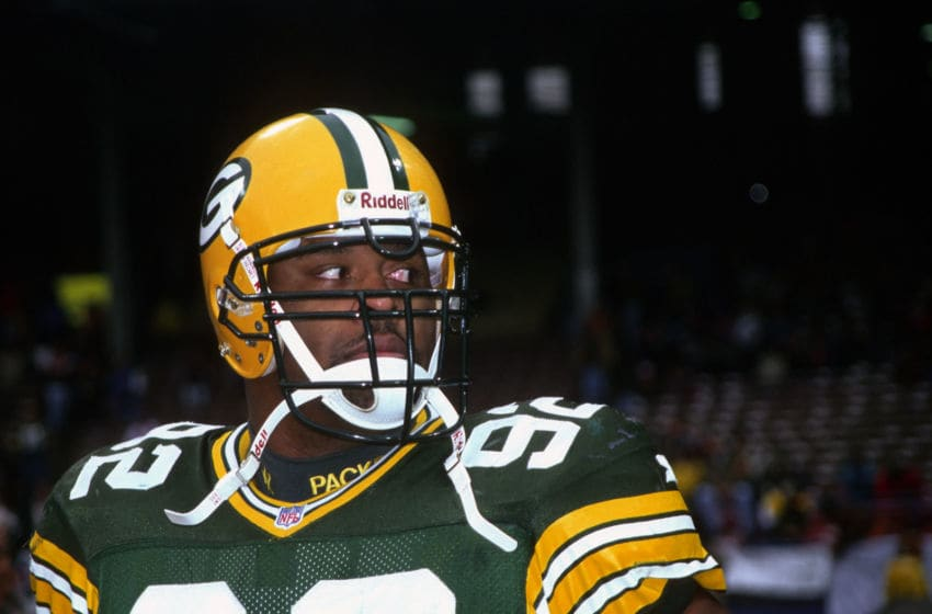 CLEVELAND, OH - NOVEMBER 19: Defensive lineman Reggie White #92 of the Green Bay Packers looks on from the sideline before a game against the Cleveland Browns at Cleveland Municipal Stadium on November 19, 1995 in Cleveland, Ohio. The Packers defeated the Browns 31-20. (Photo by George Gojkovich/Getty Images)