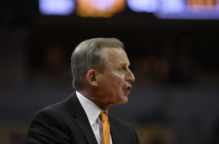 COLUMBIA, MISSOURI - JANUARY 08: Head coach Rick Barnes of the Tennessee Volunteers directs his team against the Missouri Tigers in the second half at Mizzou Arena on January 08, 2019 in Columbia, Missouri. (Photo by Ed Zurga/Getty Images)