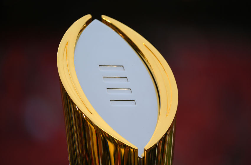 SANTA CLARA, CA - JANUARY 07: The championship trophy is on display prior to the College Football Playoff National Championship held at Levi's Stadium on January 7, 2019 in Santa Clara, California. The Clemson Tigers defeated the Alabama Crimson Tide 44-16. (Photo by Jamie Schwaberow/Getty Images)