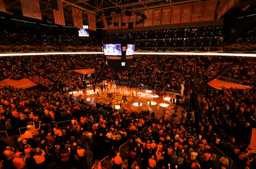 KNOXVILLE, TN - JANUARY 15: General view of the arena during the pregame introductions the game between the Arkansas Razorbacks and the Tennessee Volunteers at Thompson-Boling Arena on January 15, 2019 in Knoxville, Tennessee. Tennessee won the game 106-87. (Photo by Donald Page/Getty Images)