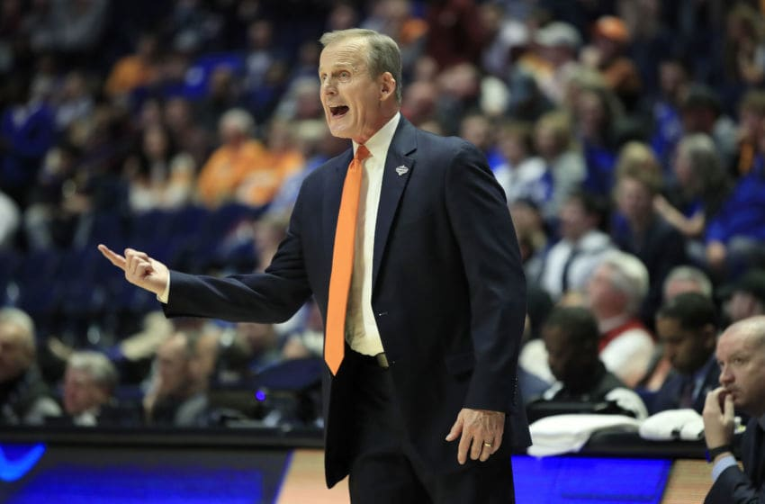 NASHVILLE, TENNESSEE - MARCH 15: Rick Barnes the head coach of the Tennessee Volunteers gives instructions to his team against the Mississippi State Bulldogs during the Quarterfinals of the SEC Basketball Tournament at Bridgestone Arena on March 15, 2019 in Nashville, Tennessee. (Photo by Andy Lyons/Getty Images)