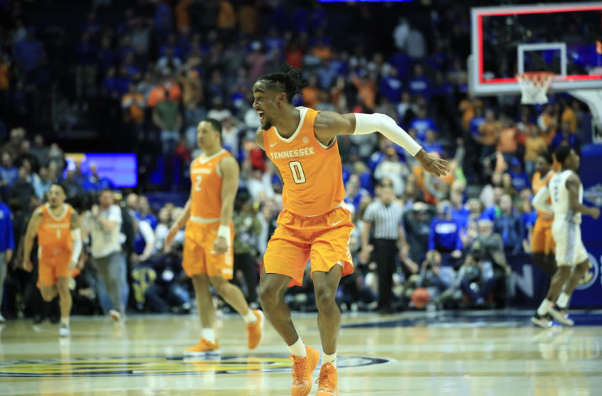 NASHVILLE, TENNESSEE - MARCH 16: Jordan Bone #0 of the Tennessee Volunteers celebrates after the 82-78 win over the Kentucky Wildcats during the semifinals of the SEC Basketball Tournament at Bridgestone Arena on March 16, 2019 in Nashville, Tennessee. (Photo by Andy Lyons/Getty Images)