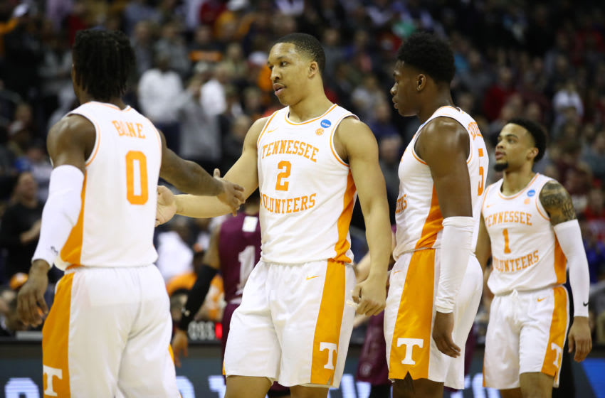 COLUMBUS, OHIO - MARCH 22: Grant Williams #2 of the Tennessee Volunteers reacts with teammates during the second half against the Colgate Raiders in the first round of the 2019 NCAA Men's Basketball Tournament at Nationwide Arena on March 22, 2019 in Columbus, Ohio. (Photo by Gregory Shamus/Getty Images)