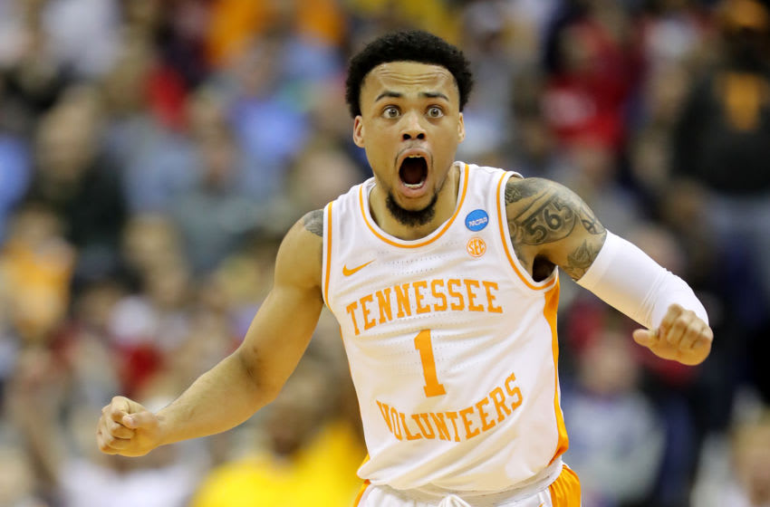 COLUMBUS, OHIO - MARCH 24: Lamonte Turner #1 of the Tennessee Volunteers reacts after being called for a foul against the Iowa Hawkeyes during their game in the Second Round of the NCAA Basketball Tournament at Nationwide Arena on March 24, 2019 in Columbus, Ohio. (Photo by Elsa/Getty Images)