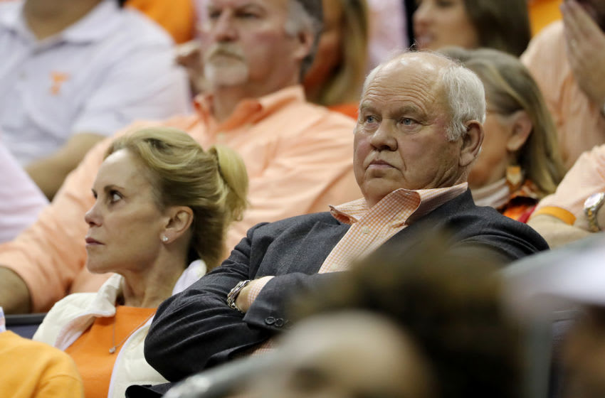 COLUMBUS, OHIO - MARCH 24: Former Tennessee Volunteers football coach Phillip Fulmer looks on during the game between the Tennessee Volunteers and the Iowa Hawkeyes in the Second Round of the NCAA Basketball Tournament at Nationwide Arena on March 24, 2019 in Columbus, Ohio. (Photo by Elsa/Getty Images)