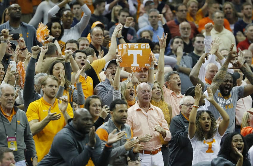 LOUISVILLE, KENTUCKY - MARCH 28: Tennessee Volunteers fans reacts against the Purdue Boilermakers during overtime of the 2019 NCAA Men's Basketball Tournament South Regional at the KFC YUM! Center on March 28, 2019 in Louisville, Kentucky. (Photo by Kevin C. Cox/Getty Images)