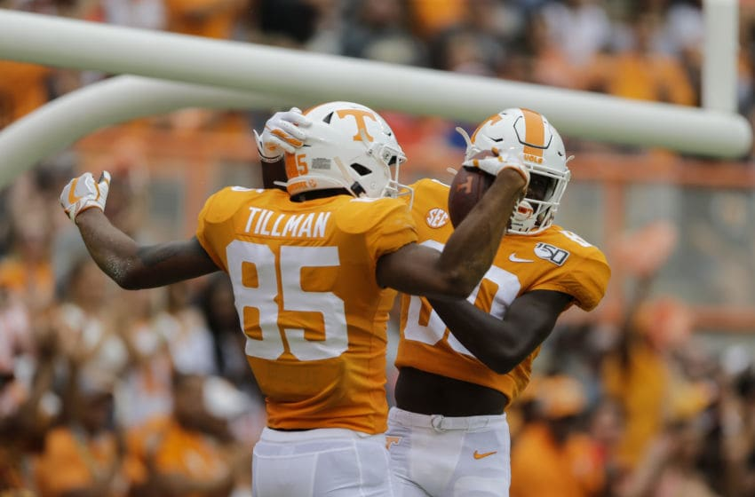 KNOXVILLE, TENNESSEE - SEPTEMBER 14: Cedric Tillman #85 of the Tennessee Volunteers celebrates scoring a touchdown against the Chattanooga Mockingbirds with Ramel Keyton #80 during the third quarter at Neyland Stadium on September 14, 2019 in Knoxville, Tennessee. (Photo by Silas Walker/Getty Images)