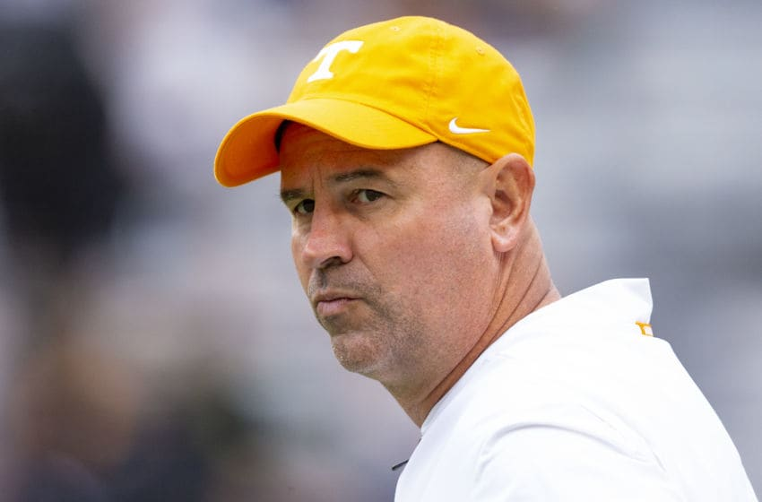 KNOXVILLE, TN - OCTOBER 12: Head coach Jeremy Pruitt of the Tennessee Volunteers looks on prior to the game against the Mississippi State Bulldogs at Neyland Stadium on October 12, 2019 in Knoxville, Tennessee. (Photo by Carmen Mandato/Getty Images)