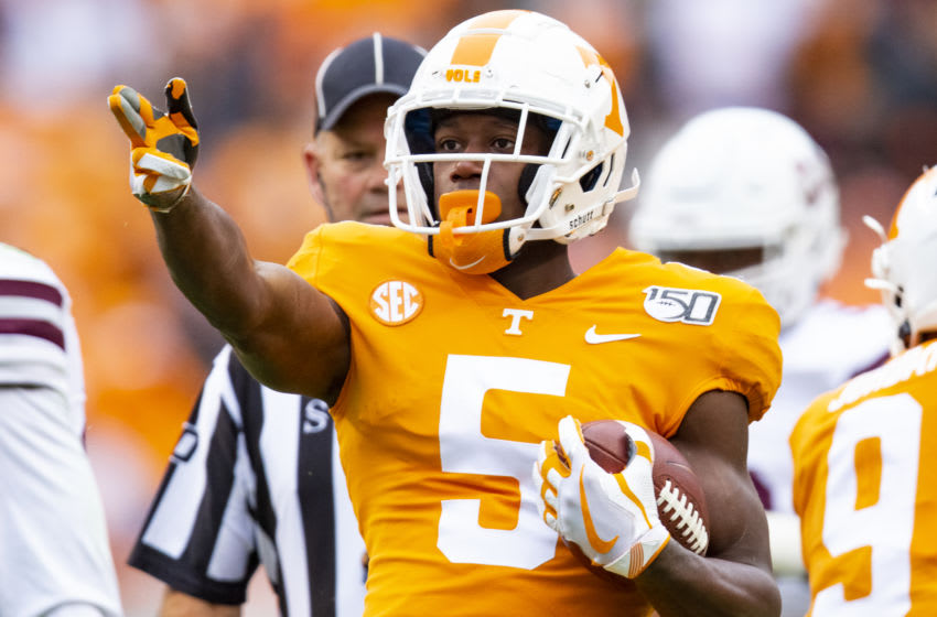 KNOXVILLE, TN - OCTOBER 12: Josh Palmer #5 of the Tennessee Volunteers gestures for a first down during the first half of a game against the Mississippi State Bulldogs at Neyland Stadium on October 12, 2019 in Knoxville, Tennessee. (Photo by Carmen Mandato/Getty Images)