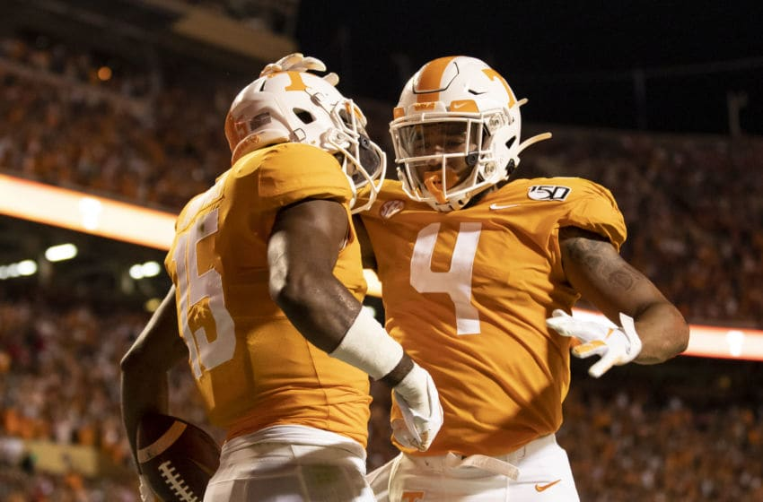 KNOXVILLE, TN - OCTOBER 05: Jauan Jennings #15 of the Tennessee Volunteers and teammate Dominick Wood-Anderson #4 celebrate a touchdown during a game between University of Georgia Bulldogs and University of Tennessee Volunteers at Neyland Stadium on October 5, 2019 in Knoxville, Tennessee. (Photo by Steve Limentani/ISI Photos/Getty Images).