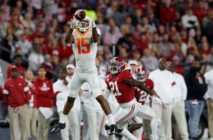 TUSCALOOSA, ALABAMA - OCTOBER 19: Jauan Jennings #15 of the Tennessee Volunteers pulls in this reception against Jared Mayden #21 of the Alabama Crimson Tide in the first half at Bryant-Denny Stadium on October 19, 2019 in Tuscaloosa, Alabama. (Photo by Kevin C. Cox/Getty Images)