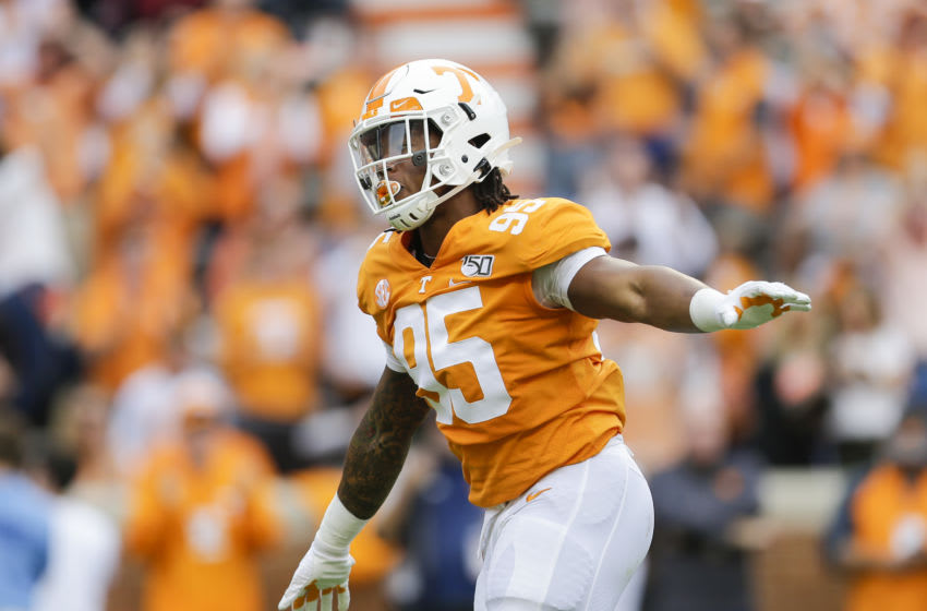 KNOXVILLE, TENNESSEE - OCTOBER 26: Kivon Bennett #95 of the Tennessee Volunteers celebrates a play against the South Carolina Gamecocks during the second quarter at Neyland Stadium on October 26, 2019 in Knoxville, Tennessee. (Photo by Silas Walker/Getty Images)