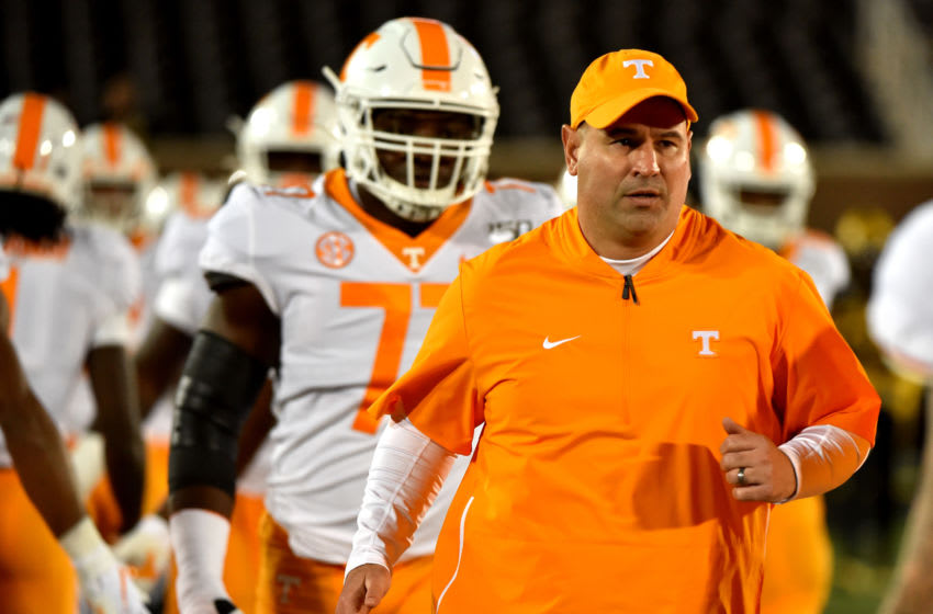 COLUMBIA, MISSOURI - NOVEMBER 23: Head coach Jeremy Pruitt of the Tennessee Volunteers leads his team to to the field prior to a game against the Missouri Tigers at Faurot Field/Memorial Stadium on November 23, 2019 in Columbia, Missouri. (Photo by Ed Zurga/Getty Images)
