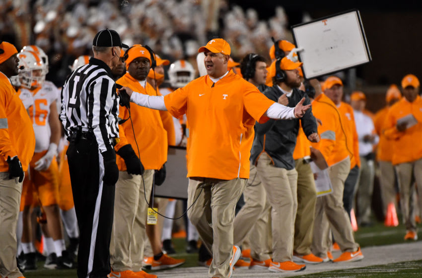 COLUMBIA, MISSOURI - NOVEMBER 23: Head coach Jeremy Pruitt of the Tennessee Volunteers talks to an official during a game against the Missouri Tigers in the second quarter at Faurot Field/Memorial Stadium on November 23, 2019 in Columbia, Missouri. (Photo by Ed Zurga/Getty Images)