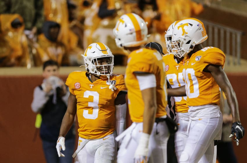 KNOXVILLE, TENNESSEE - NOVEMBER 30: Eric Gray #3 of the Tennessee Volunteers celebrates running a ninety-four yard touchdown against the Vanderbilt Commodores during the second quarter at Neyland Stadium on November 30, 2019 in Knoxville, Tennessee. (Photo by Silas Walker/Getty Images)