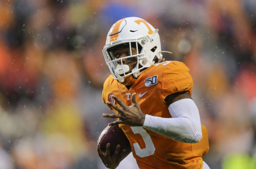 KNOXVILLE, TENNESSEE - NOVEMBER 30: Eric Gray #3 of the Tennessee Volunteers runs with the ball against the Vanderbilt Commodores during the second quarter at Neyland Stadium on November 30, 2019 in Knoxville, Tennessee. (Photo by Silas Walker/Getty Images)
