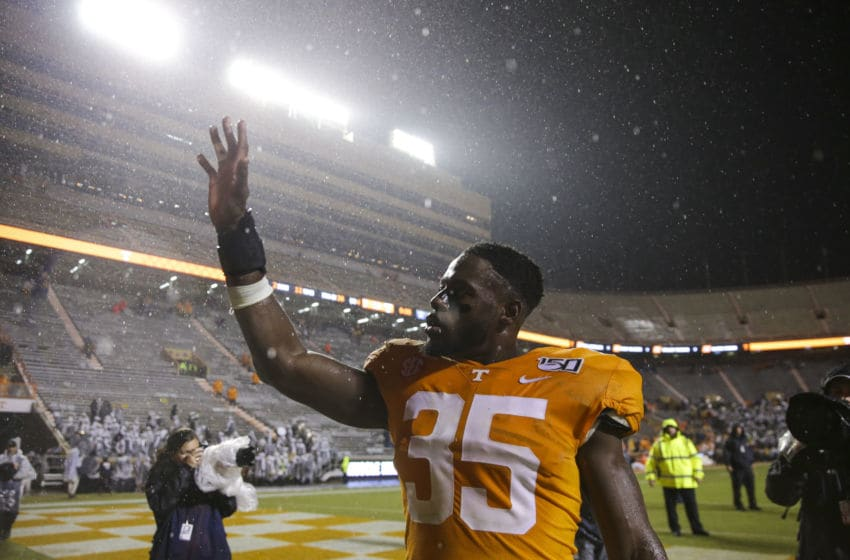 KNOXVILLE, TENNESSEE - NOVEMBER 30: Daniel Bituli #35 of the Tennessee Volunteers walks off the field after the game against the Vanderbilt Commodores at Neyland Stadium on November 30, 2019 in Knoxville, Tennessee. (Photo by Silas Walker/Getty Images)