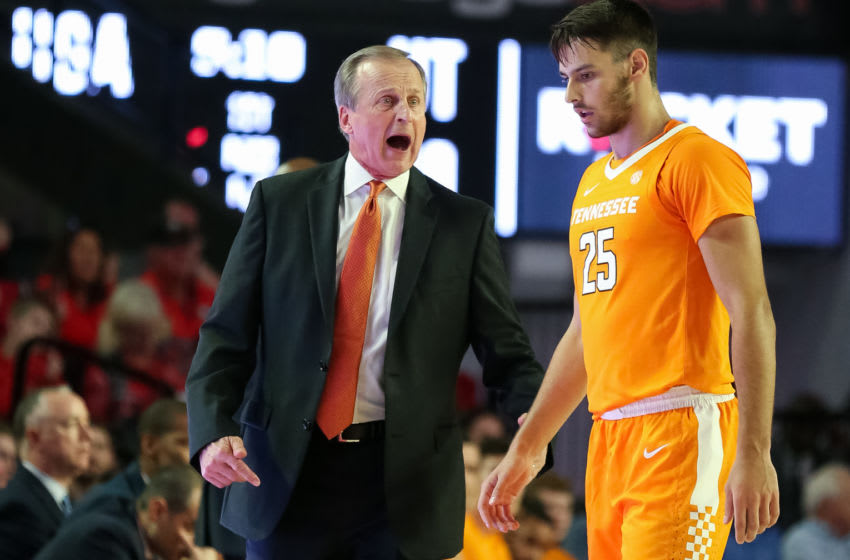 ATHENS, GA - JANUARY 15: Head coach Rick Barnes speaks with Santiago Vescovi #25 of the Tennessee Volunteers during the first half of a game at Stegeman Coliseum on January 15, 2020 in Athens, Georgia. (Photo by Carmen Mandato/Getty Images)