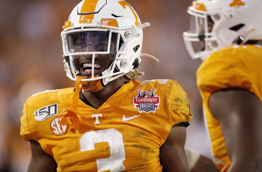 JACKSONVILLE, FL - JANUARY 02: Eric Gray #3 of the Tennessee Volunteers celebrates after a 16-yard touchdown run to give his team the lead in the fourth quarter of the TaxSlayer Gator Bowl against the Indiana Hoosiers at TIAA Bank Field on January 2, 2020 in Jacksonville, Florida. Tennessee defeated Indiana 23-22. (Photo by Joe Robbins/Getty Images)