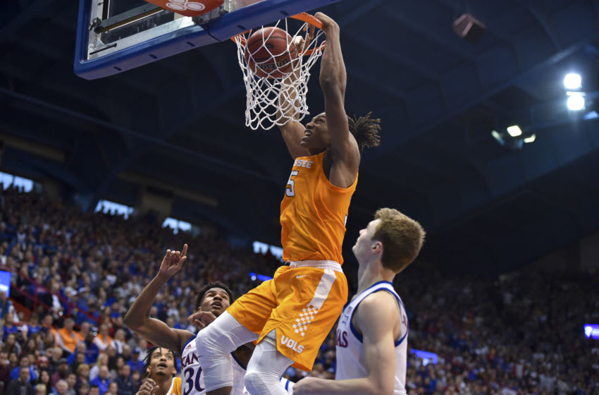 LAWRENCE, KANSAS - JANUARY 25: Yves Pons #35 of the Tennessee Volunteers dunks against the Kansas Jayhawks at Allen Fieldhouse on January 25, 2020 in Lawrence, Kansas. (Photo by Ed Zurga/Getty Images)