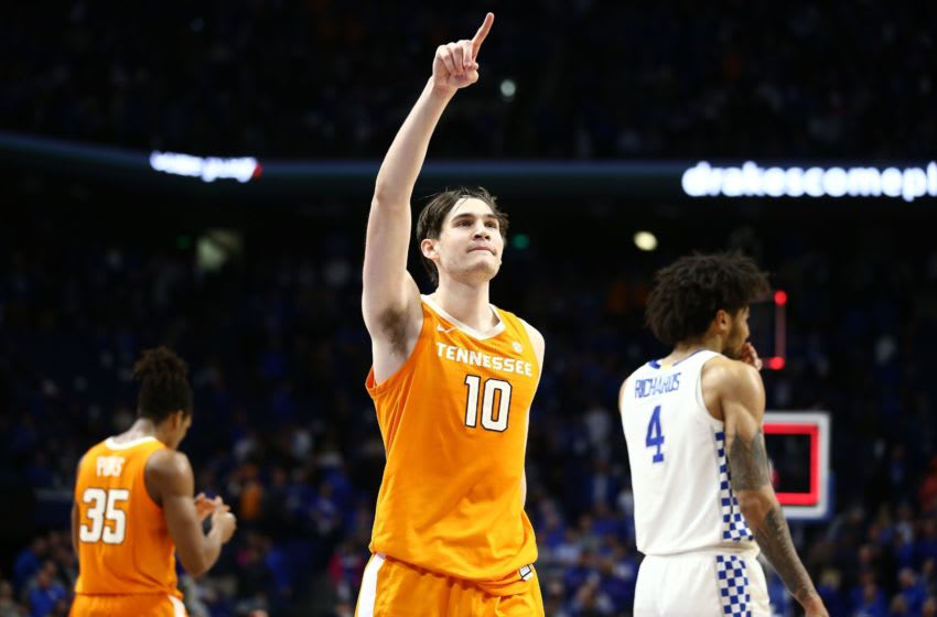 LEXINGTON, KENTUCKY - MARCH 03: John Fulkerson #10 of the Tennessee Volunteers celebrates after the 81-73 win against the Kentucky Wildcats at Rupp Arena on March 03, 2020 in Lexington, Kentucky. (Photo by Andy Lyons/Getty Images)