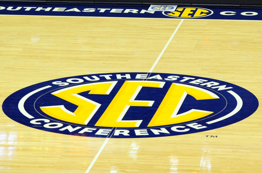 NEW ORLEANS, LA - MARCH 08: Detailed view of the SEC logo at midcourt prior to a game between the LSU Tigers and the Arkansas Razorbacks during the first round of the SEC Basketball Tournament at the New Orleans Arena on March 8, 2012 in New Orleans, Louisiana. (Photo by Stacy Revere/Getty Images)