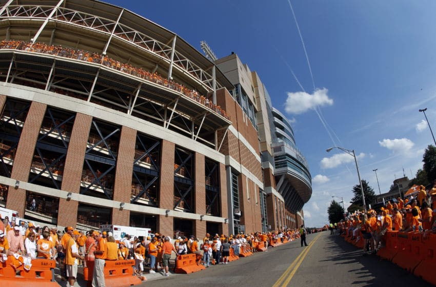 KNOXVILLE, TN - SEPTEMBER 15: A view of the outside of Neyland Stadium before a game between the Florida Gators and Tennessee Volunteers on September 15, 2012 in Knoxville, Tennessee. (Photo by John Sommers II/Getty Images)