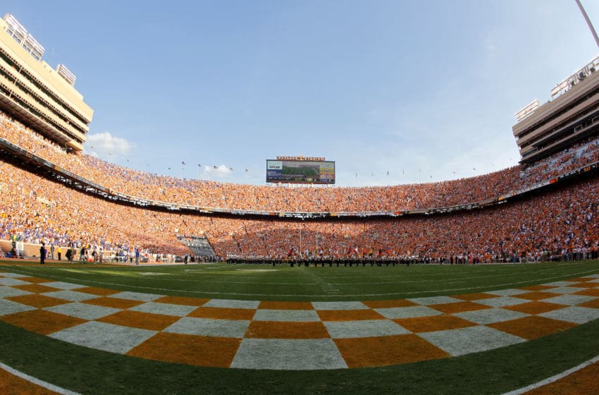 KNOXVILLE, TN - SEPTEMBER 15: A view of the inside of Neyland Stadium during a game between the Florida Gators and Tennessee Volunteers on September 15, 2012 in Knoxville, Tennessee. (Photo by John Sommers II/Getty Images)