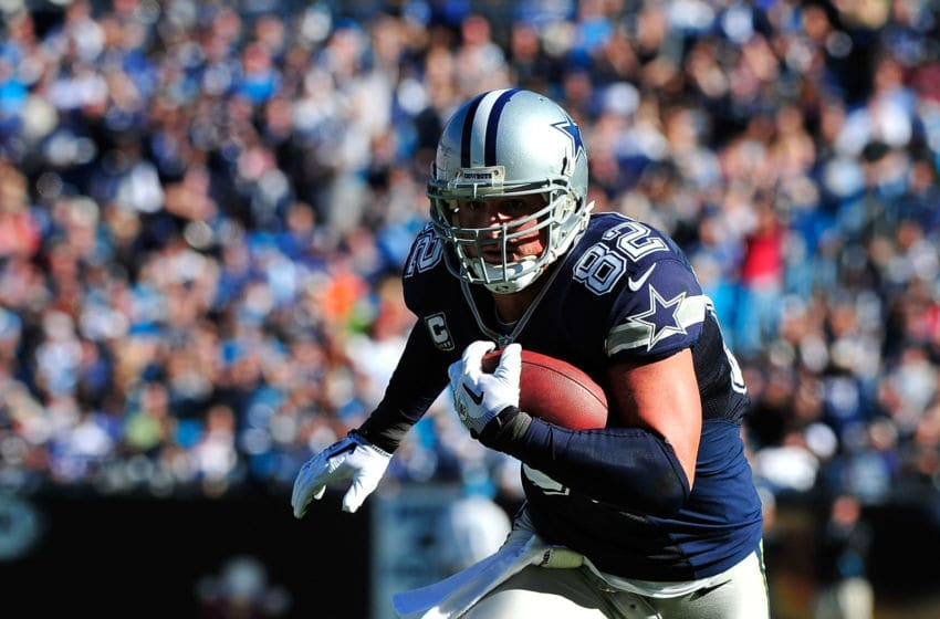 CHARLOTTE, NC - OCTOBER 21: Jason Witten #82 of the Dallas Cowboys makes a catch against the Carolina Panthers during play at Bank of America Stadium on October 21, 2012 in Charlotte, North Carolina. The Cowboys won 19-14. (Photo by Grant Halverson/Getty Images)