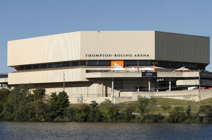 KNOXVILLE, TN - OCTOBER 4: General view of the exterior of Thompson-Boling Arena prior to the football game between the Florida Gators and Tennessee Volunteers at Neyland Stadium on October 4, 2014 in Knoxville, Tennessee. Florida defeated Tennessee 10-9. (Photo by Joe Robbins/Getty Images)
