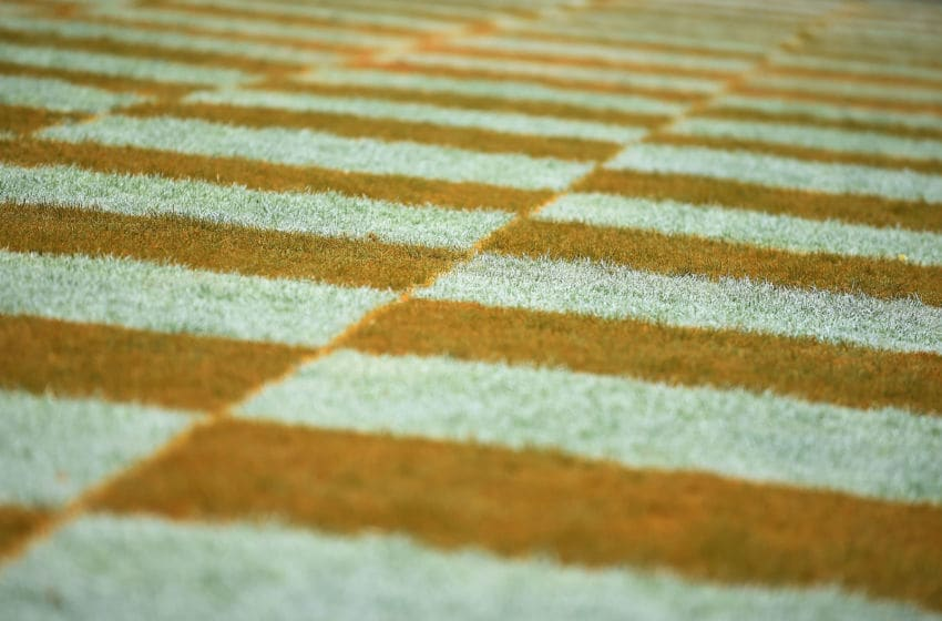 KNOXVILLE, TN - OCTOBER 11: Detailed view of the checkered endzone at Neyland Stadium during a game between the Tennessee Volunteers and the Chattanooga Mocs on October 11, 2014 in Knoxville, Tennessee. Tennessee won the game 45-10. (Photo by Stacy Revere/Getty Images)
