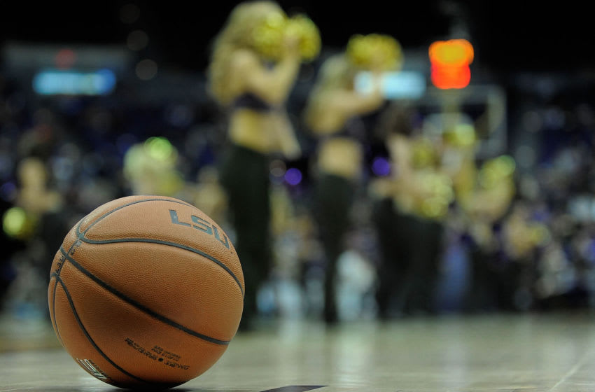 BATON ROUGE, LA - JANUARY 28: Detailed view of the game ball during a game between the LSU Tigers and the Kentucky Wildcats at the Pete Maravich Assembly Center on January 28, 2014 in Baton Rouge, Louisiana. LSU won the game 87-82. (Photo by Stacy Revere/Getty Images)