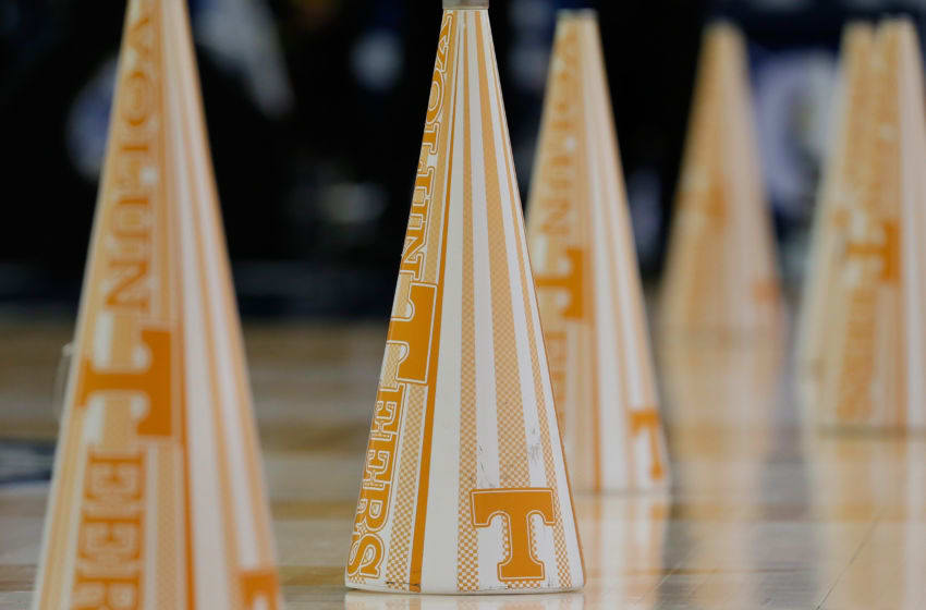 ATLANTA, GA - MARCH 14: A general view of megaphones for the Tennessee Volunteers cheerleaders against the South Carolina Gamecocks during the quarterfinals of the SEC Men's Basketball Tournament at Georgia Dome on March 14, 2014 in Atlanta, Georgia. (Photo by Kevin C. Cox/Getty Images)