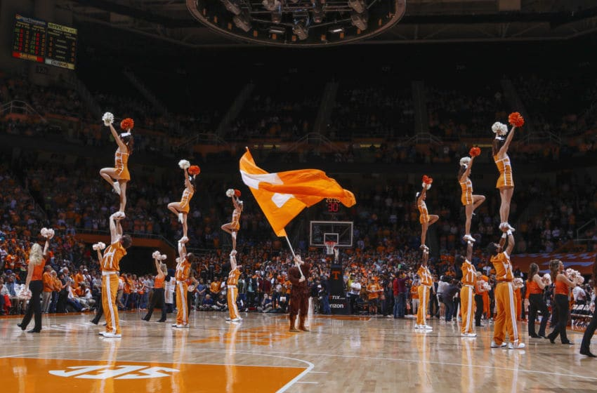 KNOXVILLE, TN - FEBRUARY 2: Cheerleaders of the Tennessee Volunteers pregame against the Kentucky Wildcats in a game at Thompson-Boling Arena on February 2, 2016 in Knoxville, Tennessee. (Photo by Patrick Murphy-Racey/Getty Images)