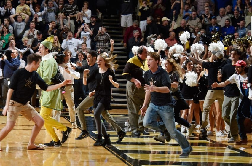NASHVILLE, TENNESSEE - FEBRUARY 27: Fans of the Vanderbilt Commodores storm the court after a 74-62 Vanderbilt upset over Kentucky at Memorial Gym on February 27, 2016 in Nashville, Tennessee. (Photo by Frederick Breedon/Getty Images)