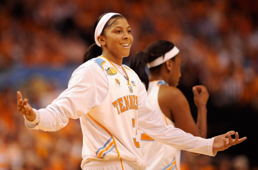 TAMPA, FL - APRIL 06: Candace Parker #3 of the Tennessee Lady Volunteers reacts against the LSU Lady Tigers during their National Semifinal Game of the 2008 NCAA Women's Final Four at St. Pete Times Forum April 6, 2008 in Tampa, Florida. (Photo by Al Messerschmidt/Getty Images)