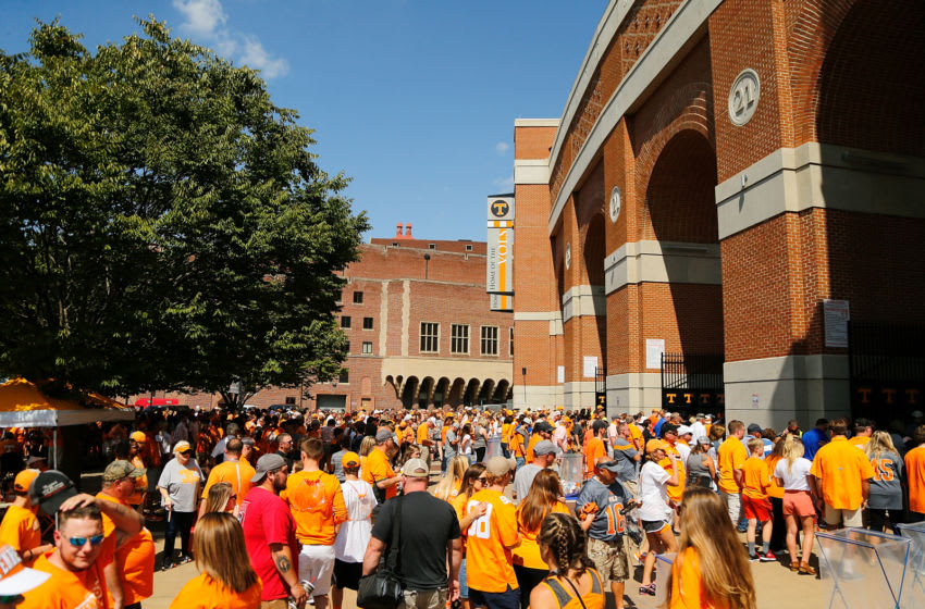 KNOXVILLE, TN - SEPTEMBER 09: A general view of the outside of Neyland Stadium prior to the game between the Tennessee Volunteers and the Indiana State Sycamores on September 9, 2017 in Knoxville, Tennessee. (Photo by Michael Reaves/Getty Images)