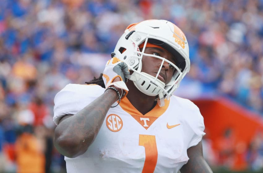 GAINESVILLE, FL - SEPTEMBER 16: Marquez Callaway #1 of the Tennessee Volunteers reacts to a play against the Florida Gators during the second half of their game at Ben Hill Griffin Stadium on September 16, 2017 in Gainesville, Florida. (Photo by Scott Halleran/Getty Images)
