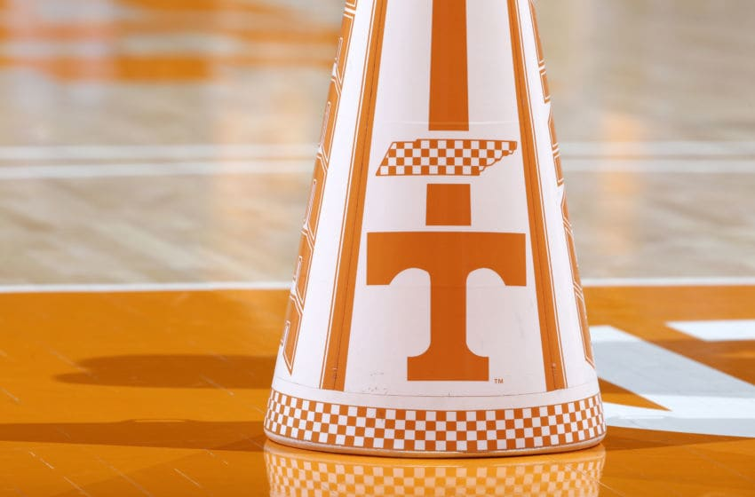 KNOXVILLE, TN - FEBRUARY 21: Detailed view of the Tennessee Volunteers logo which is seen on a cheerleader megaphone during a game against the Florida Gators at Thompson-Boling Arena on February 21, 2018 in Knoxville, Tennessee. Tennessee won 62-57. (Photo by Joe Robbins/Getty Images) *** Local Caption ***