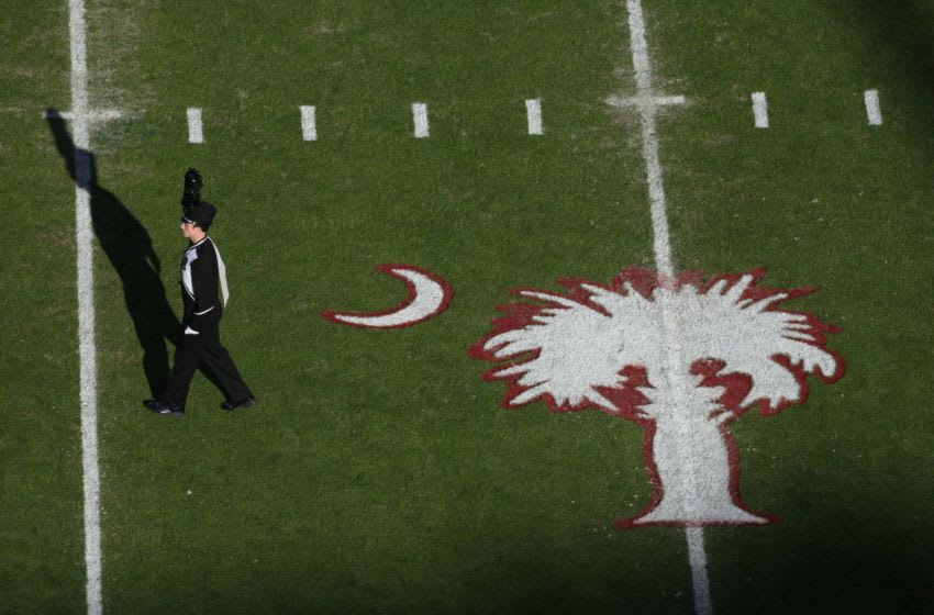 COLUMBIA, SC - NOVEMBER 14: Overhead view of South Carolina Gamecocks marching band member and state logo during the game against the Florida Gators at Williams-Brice Stadium on November 14, 2009 in Columbia, South Carolina. (Photo by Streeter Lecka/Getty Images)
