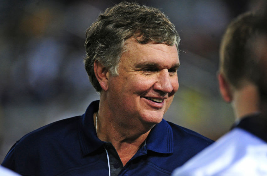 ATLANTA, GA - SEPTEMBER 3: Head Coach Paul Johnson of the Georgia Tech Yellow Jackets chats with players late in the game against the Alcorn State Braves on September 3, 2015 in Atlanta, Georgia. Photo by Scott Cunningham/Getty Images)