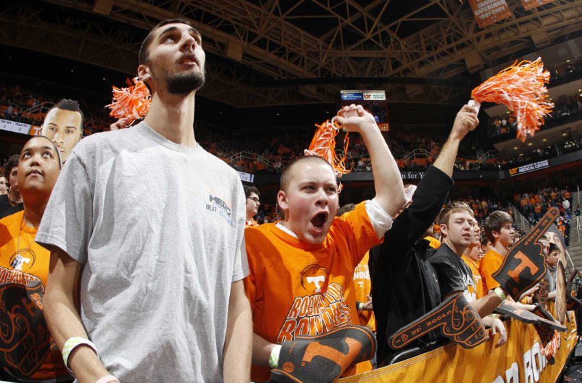 KNOXVILLE, TN - JANUARY 14: Tennessee Volunteers fans cheer during the game against the Kentucky Wildcats at Thompson-Boling Arena on January 14, 2012 in Knoxville, Tennessee. Kentucky defeated Tennessee 65-62. (Photo by Joe Robbins/Getty Images)