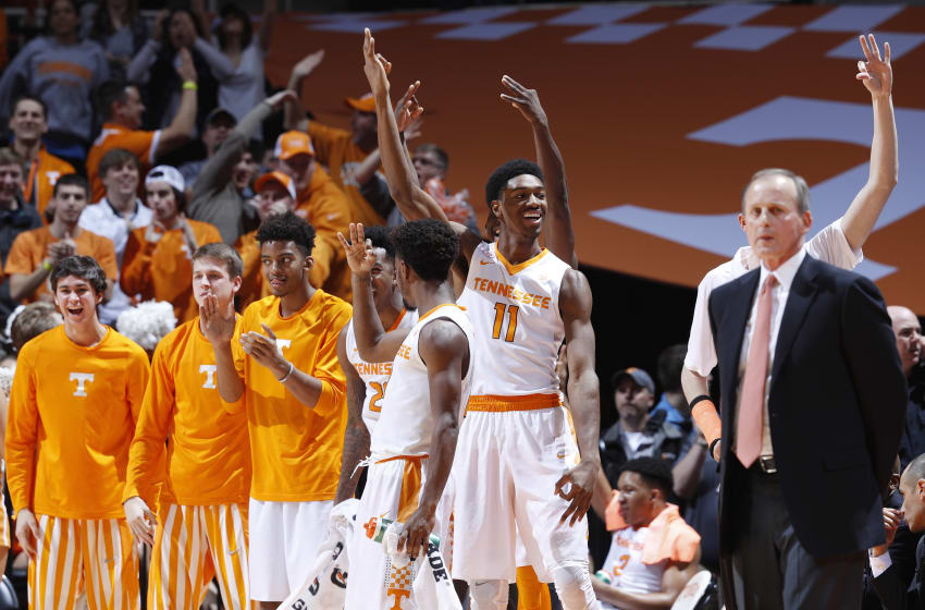 KNOXVILLE, TN - JANUARY 24: Tennessee Volunteers players react in the second half of the game against the Kentucky Wildcats at Thompson-Boling Arena on January 24, 2017 in Knoxville, Tennessee. Tennessee defeated Kentucky 82-80. (Photo by Joe Robbins/Getty Images)