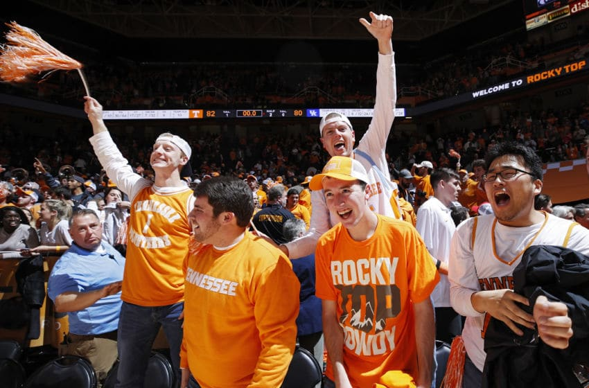 KNOXVILLE, TN - JANUARY 24: Tennessee Volunteers students celebrate after defeating the Kentucky Wildcats at Thompson-Boling Arena on January 24, 2017 in Knoxville, Tennessee. Tennessee defeated Kentucky 82-80. (Photo by Joe Robbins/Getty Images)